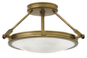 Hinkley Collier 3 Light Semi Flush Ceiling Light Opal Glass Heritage Brass