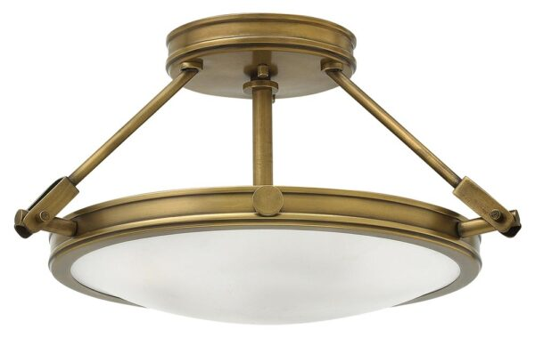 Hinkley Collier 3 Light Semi Flush Ceiling Light Opal Glass Heritage Brass