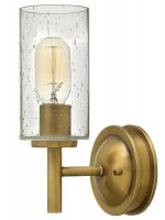 Hinkley Collier Single Wall Light Seeded Glass Shade Heritage Brass