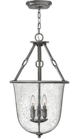 Hinkley Dakota 3 Light Hanging Lantern Seeded Glass Antique Nickel