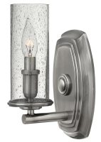 Hinkley Dakota Single Wall Light Seeded Glass Shade Antique Nickel