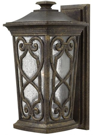 Hinkley Enzo Medium Outdoor Wall Lantern Autumn Seeded Glass