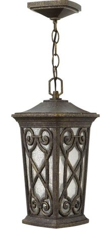 Hinkley Enzo Hanging Outdoor Porch Lantern Autumn Seeded Glass