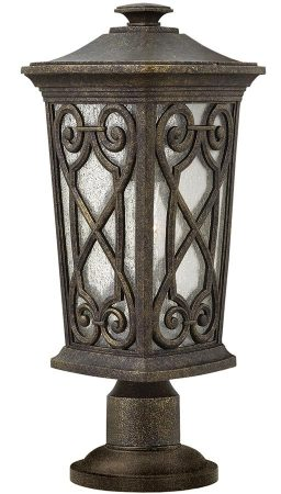 Hinkley Enzo Small Outdoor Pedestal Lantern Autumn Seeded Glass