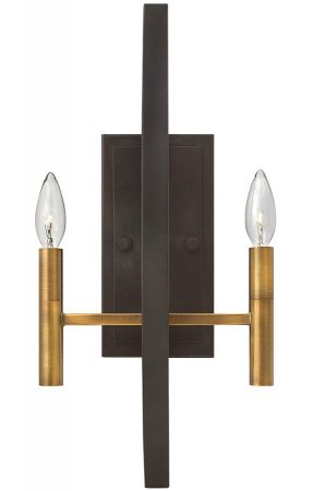 Hinkley Euclid 2 Light Wall Light Two Tone Spanish Bronze
