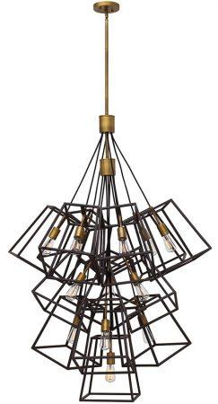 Hinkley Fulton Large 13 Light Chandelier Pendant Industrial Bronze