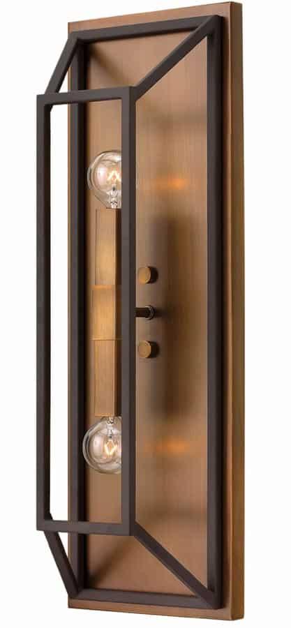Hinkley Fulton 2 Light Wall Light Industrial Two Tone Bronze
