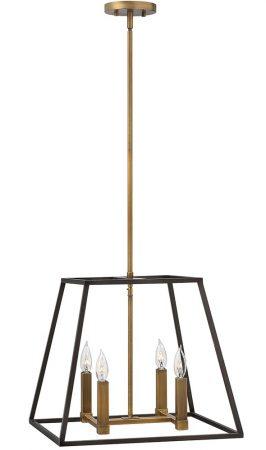 Hinkley Fulton 4 Light Industrial Pendant Chandelier Two Tone Bronze