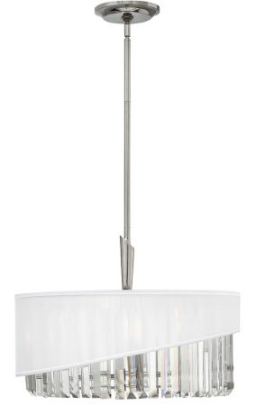Hinkley Gigi Polished Nickel 3 Light Crystal Pendant Organza Shade