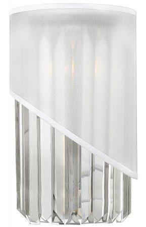Hinkley Gigi Polished Nickel 1 Light Crystal Wall Light Organza Shade