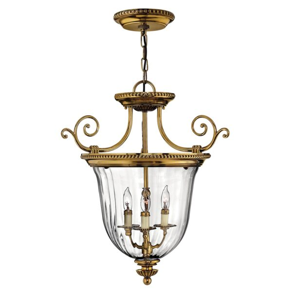 Hinkley Cambridge Small 3 Light Solid Brass Ceiling Pendant Lantern
