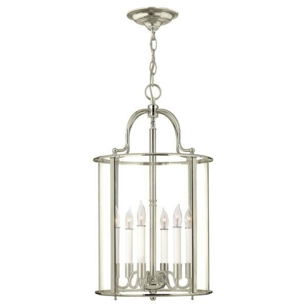Hinkley Gentry Handmade Polished Nickel 6 Light Large Hanging Lantern