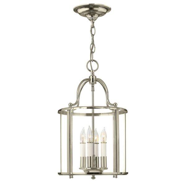 Hinkley Gentry Handmade Polished Nickel 4 Light Medium Chain Lantern