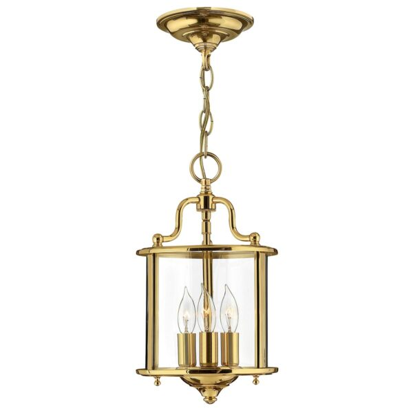Hinkley Gentry 3 Light Solid Polished Brass Small Hanging Lantern