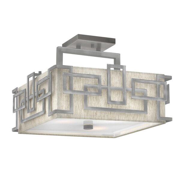 Hinkley Lanza Antique Nickel 3 Lamp Semi Flush Low Ceiling Light