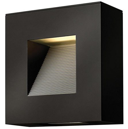 Hinkley Luna 2 Light Small Outdoor Wall Down Light Satin Black IP44