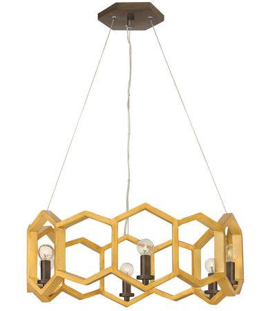 Hinkley Moxie 6 Light Pendant Sunset Gold Geometric Design