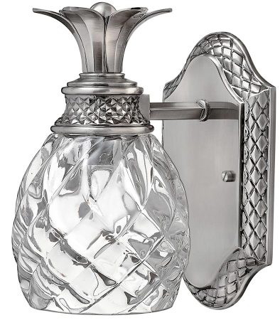 Hinkley Plantation Bathroom Wall Light Antique Nickel Pineapple Glass