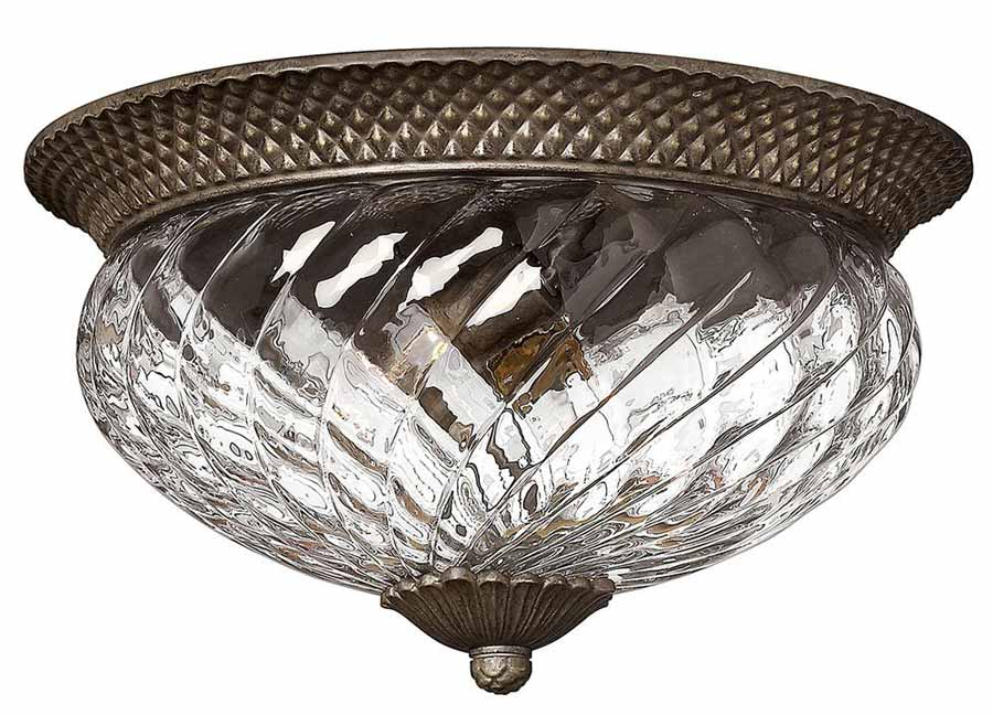 Hinkley Plantation large flush ceiling light with pineapple glass in pearl bronze