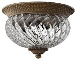 Hinkley Plantation Small Pearl Bronze Flush Pineapple Glass Light