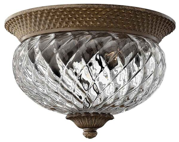 Hinkley Plantation small flush ceiling light with pineapple glass in pearl bronze