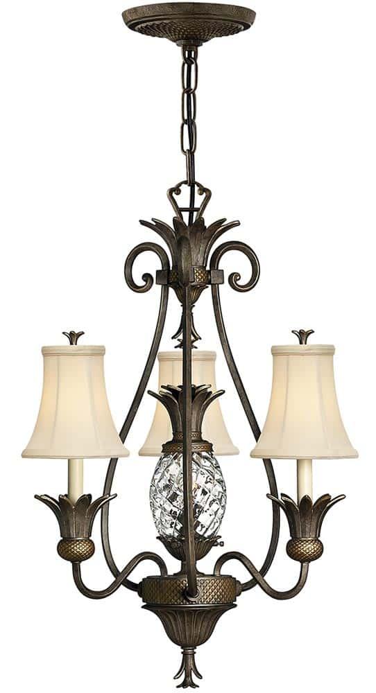 Hinkley Plantation Designer 4 Light Pineapple Chandelier Pearl Bronze