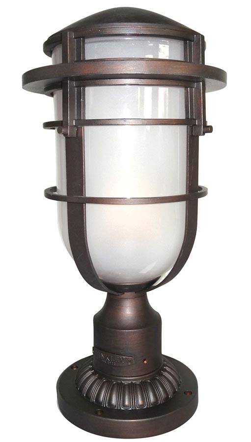 Hinkley reef art deco style outdoor post top lantern for Art deco porch light