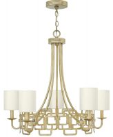 Hinkley Sabina 5 Light Chandelier Silver Leaf Eggshell Silk Shades