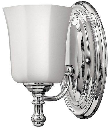 Hinkley Shelly Single Bathroom Wall Light Polished Chrome Opal Glass Shade