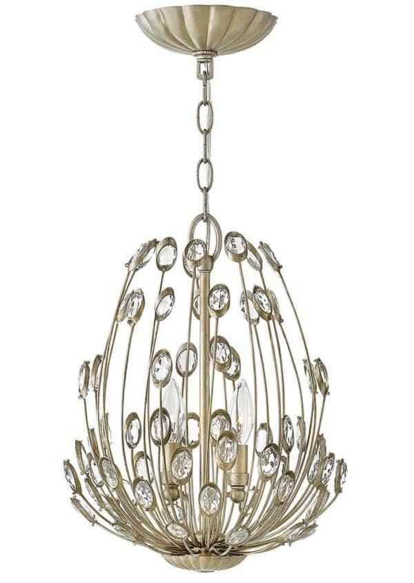 Hinkley Tulah 3 Light Ceiling Pendant Silver Leaf Crystal