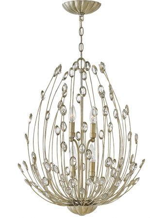 Hinkley Tulah 4 Light Two Tier Chandelier Silver Leaf Crystal