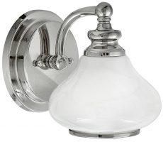 Hinkley Ainsley Single Polished Chrome Bathroom Wall Light Opal Glass Shade