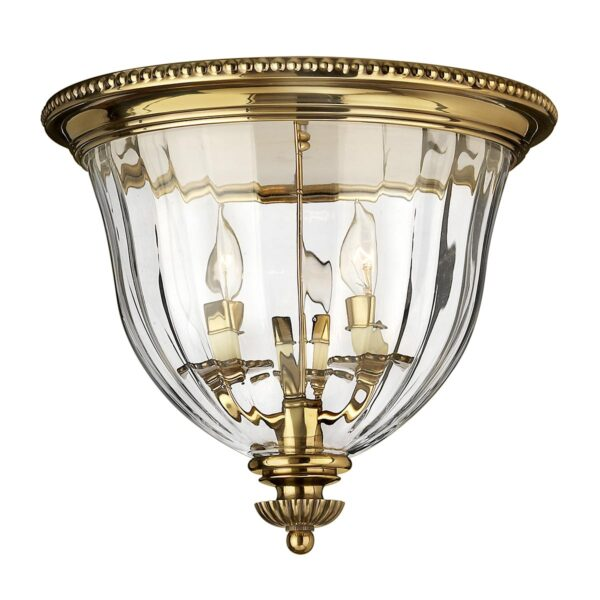 Hinkley Cambridge 3 Lamp Flush Low Ceiling Light Solid Burnished Brass