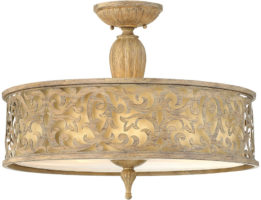 Hinkley Carabel Brushed Champagne 3 Light Designer Semi Flush