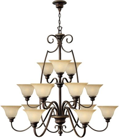 Hinkley Cello Large 15 Light Antique Bronze Chandelier With Alabaster Shades