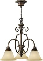 Hinkley Cello 3 Light Antique Bronze Chandelier With Alabaster Shades