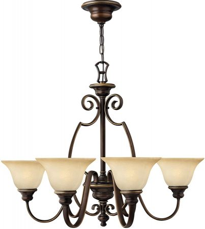 Hinkley Cello 6 Light Antique Bronze Chandelier With Alabaster Shades