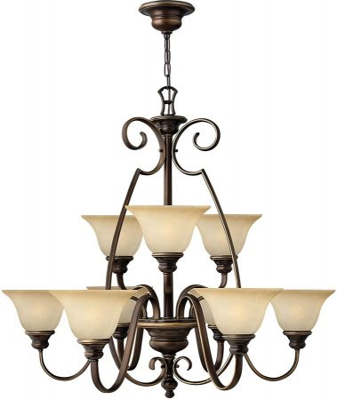 Hinkley Cello 9 Light Antique Bronze Chandelier With Alabaster Shades