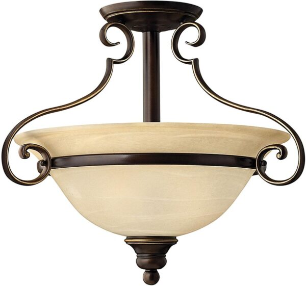Hinkley Cello 2 Light Antique Bronze Semi Flush With Alabaster Glass