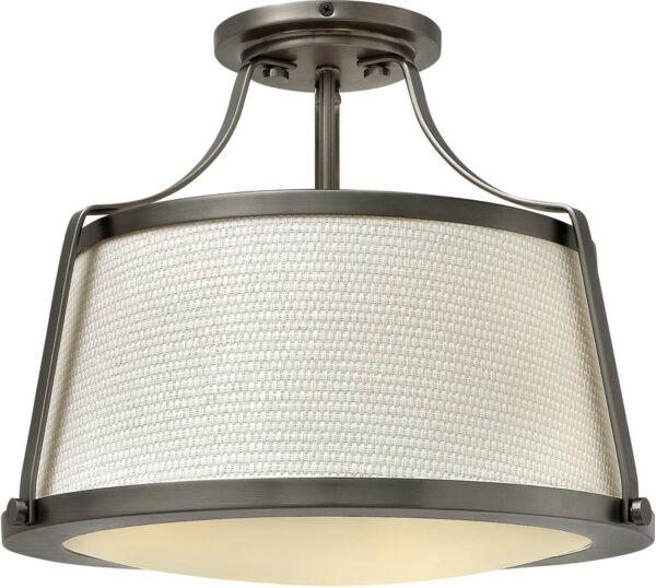 Hinkley Charlotte Antique Nickel Retro 3 Lamp Semi Flush Light