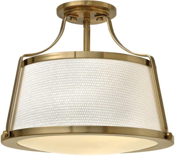 Hinkley Charlotte Brushed Caramel Retro 3 Lamp Semi Flush Light