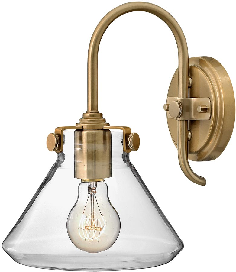Hinkley Congress Gold Wall Light With Glass Pyramid Shade CONGRES1/A/BC