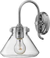 Hinkley Congress Chrome Wall Light With Glass Pyramid Shade