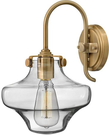 Hinkley Congress Gold Wall Light With Glass Cowl Shade