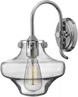 Hinkley Congress Chrome Wall Light With Glass Cowl Shade