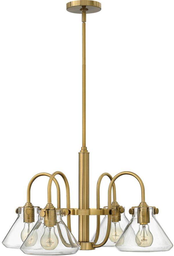 Hinkley Congress Glass Pyramid Shade 4 Light Gold Chandelier