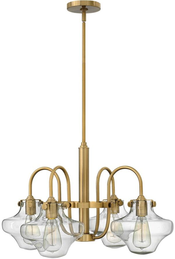 Hinkley Congress Glass Cowl Shade 4 Light Gold Chandelier