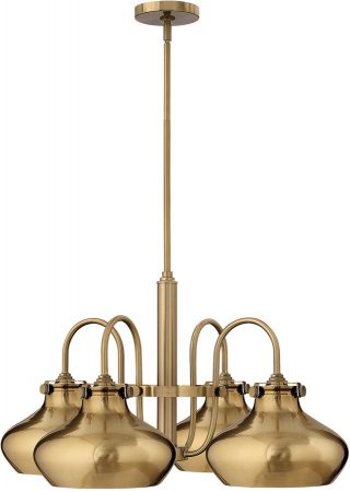 Hinkley Congress Metal Shade 4 Light Brushed Caramel Chandelier