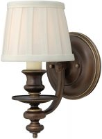 Hinkley Dunhill Royal Bronze 1 Lamp Wall Light With Off White Shade