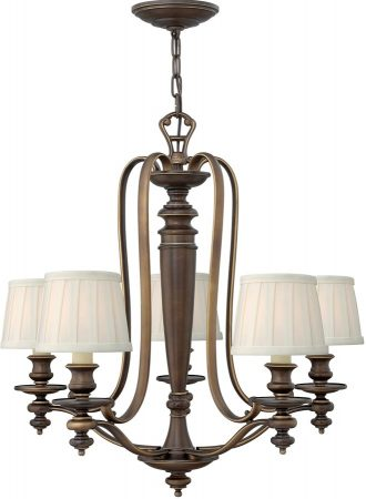 Hinkley Dunhill Royal Bronze 5 Light Chandelier With Off White Shades